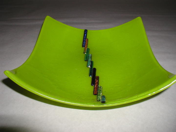 Fused Green Bowl with Dichroic Glass Accents