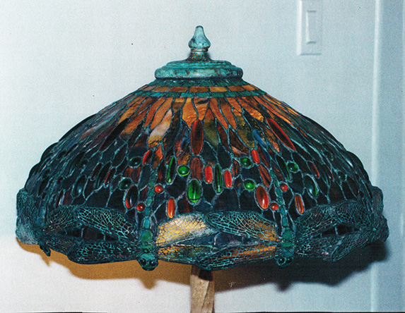 22 tiffany dragonfly stained glass lamp reproduction displayed on a. Black Bedroom Furniture Sets. Home Design Ideas