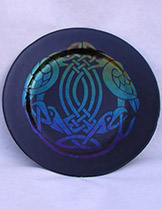 "7"" Slumped Glass Celtic Birds Plate"