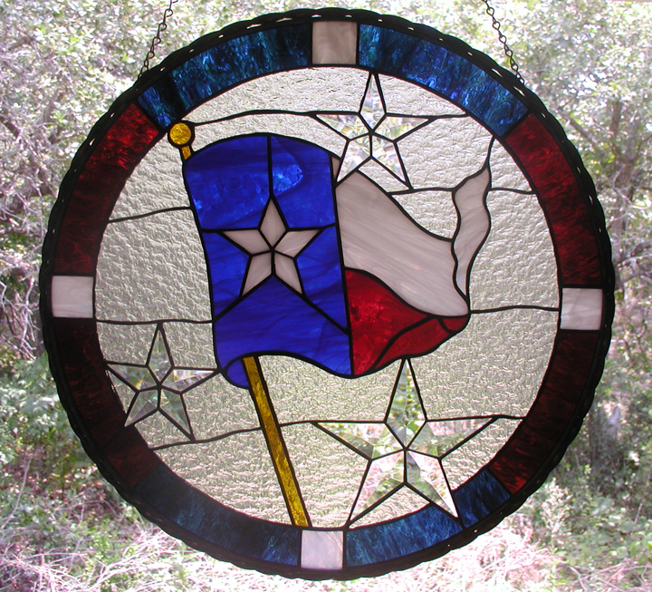 Texas Flag Stained Glass Hanging Panel