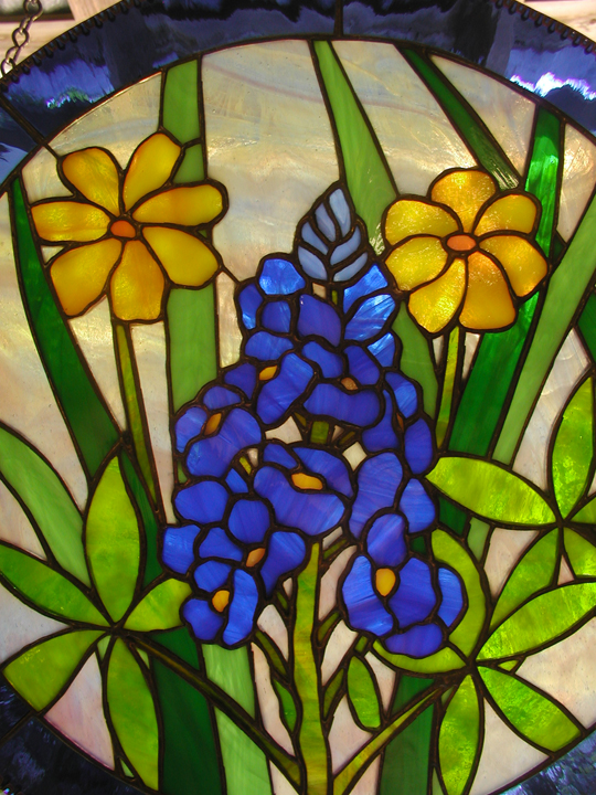 Stained Glass Blue Bonnet hanging panel
