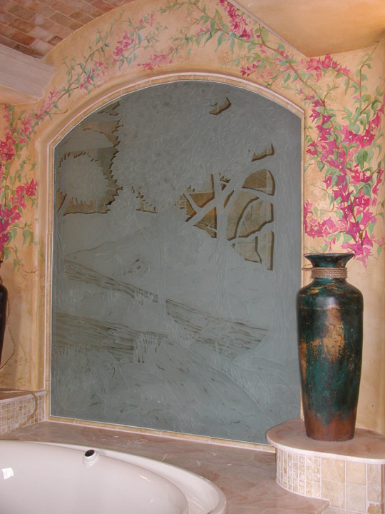 Custom Carved Glass Wall