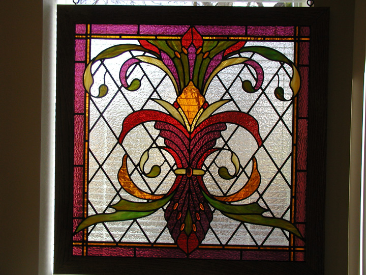 art nouveau inspired stained glass panel