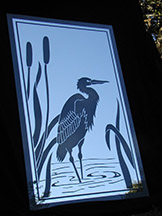 Etched Glass Heron Mirror