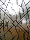close up of leaded glass panel