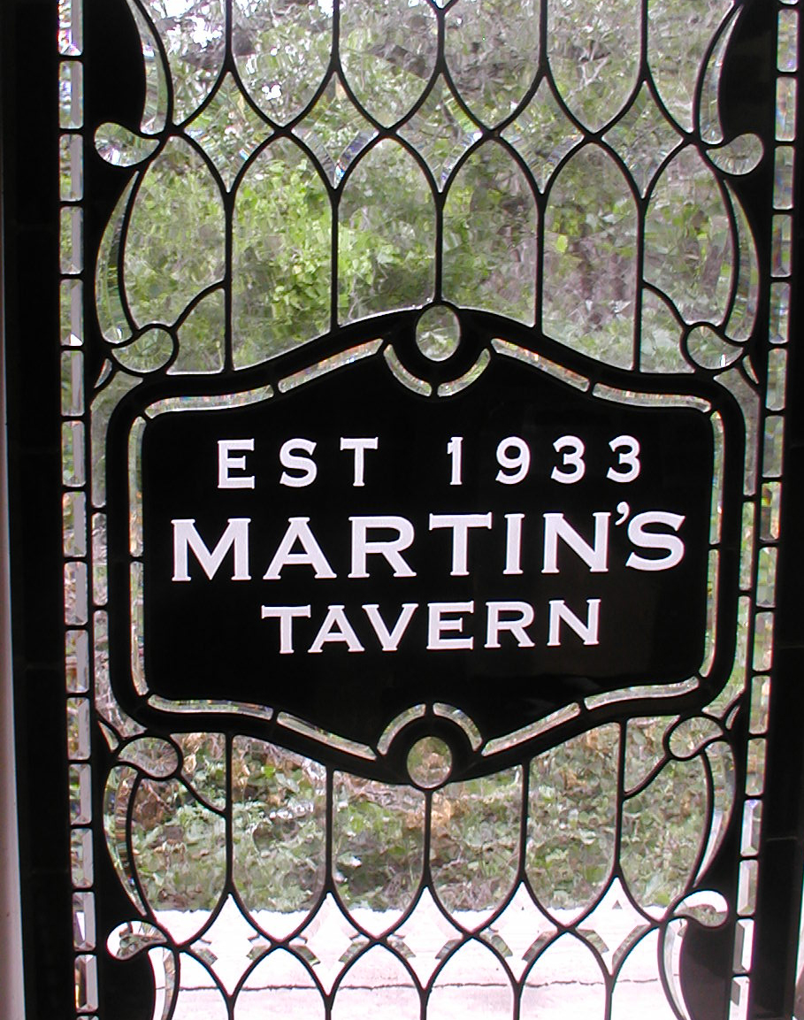 a7229c8b4fea Martins Tavern leaded glass entry windows