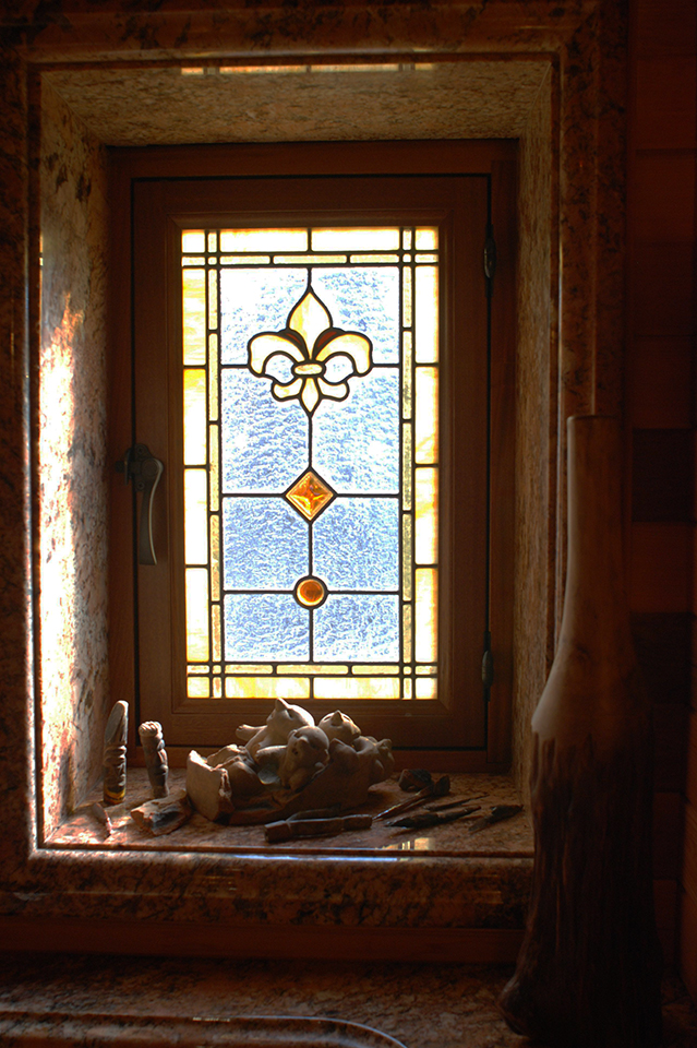 Fleur de lis leaded glass bathroom windows for Custom transom windows