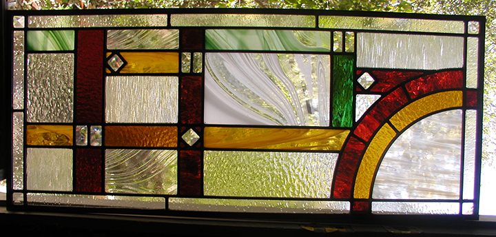 Custom stained and leaded glass transom window for Custom transom windows
