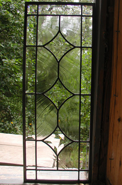 3 Star leaded glass panel with beveled border