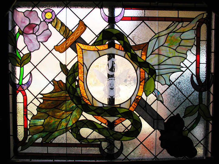 Medieval Style Stained Glass Window With Art Nouveau Elements