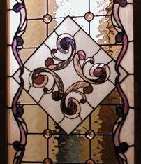 Bathroom Door Leaded Glass Insert