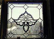 Beveled Leaded Hanging Window with Purple Border