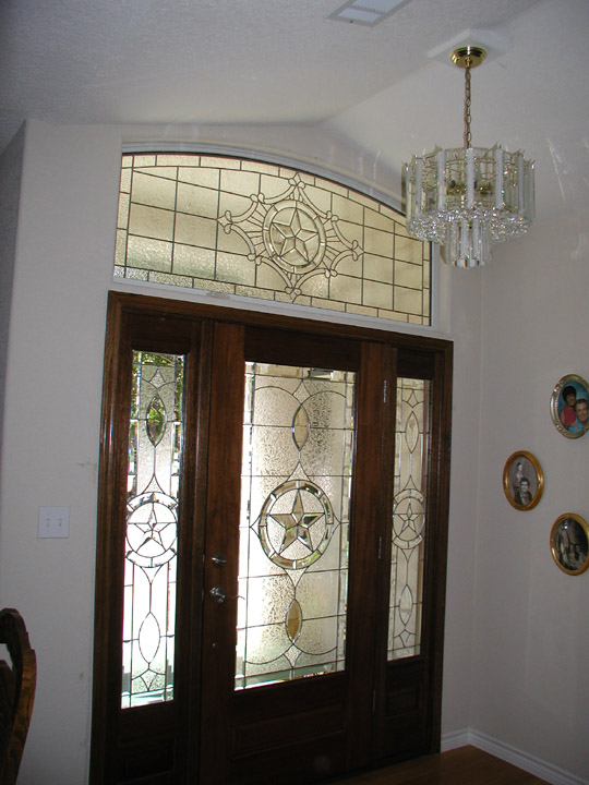 Leaded glass clear textures and beveled glass texas star transom