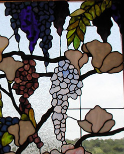 Magnolia and Wisteria Stained Glass Bathroom Window