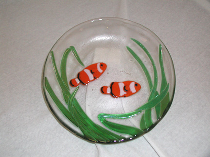 Fused Glass Clown Fish Bowl