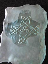 Deep Carved Glass Celtic Cross Sample
