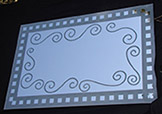 Etched Glass Curly Q Mirror