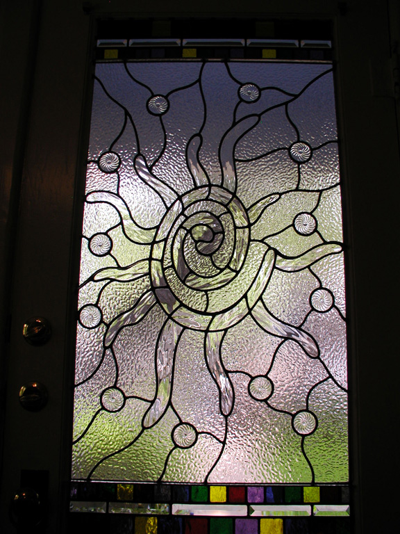 Abstract leaded glass entryway