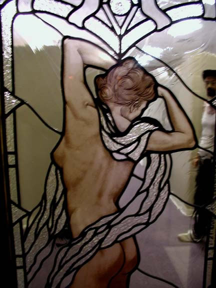 Nude on Clear leaded hand painted stained glass window
