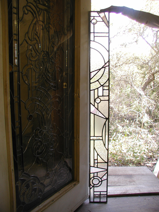 Abstract Leaded Glass Bathroom Window And Door Panels