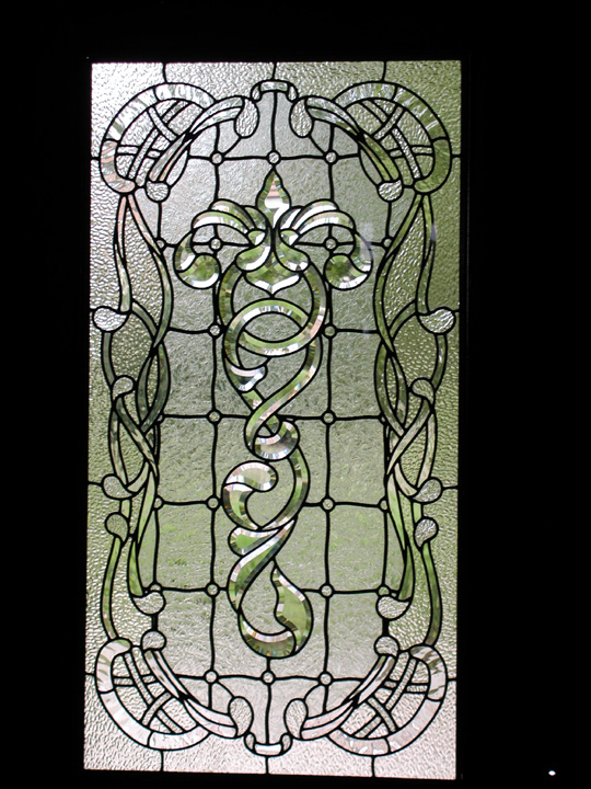 Art nouveau front door leaded glass panel with bevels for Art glass windows and doors
