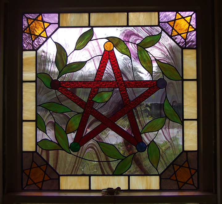 Stained glass celtic five pointed star window for Five star windows