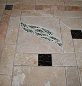 Custom Floor Mosaic with Travertine and Fused Glass