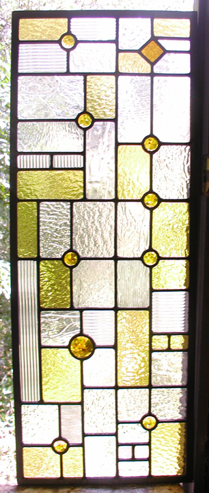 FLW style leaded glass cabinet windows