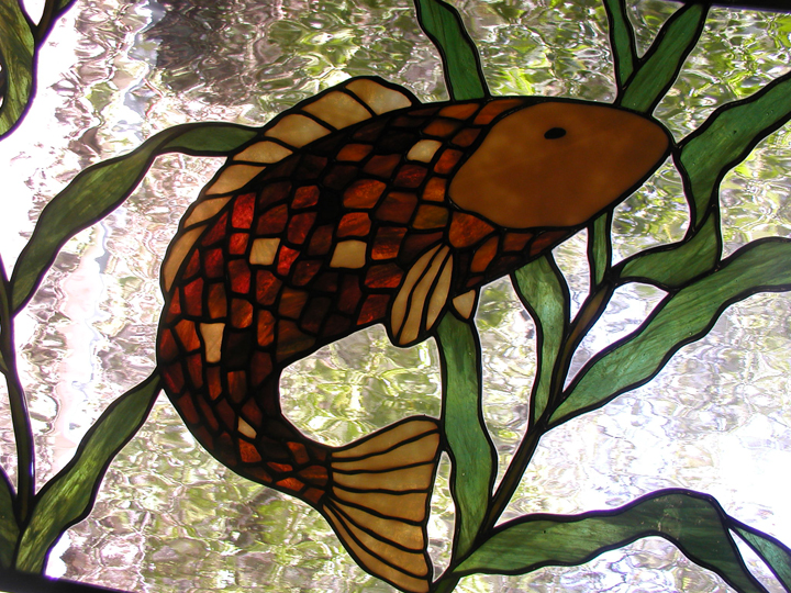 Hanging stained glass Koi Fish window