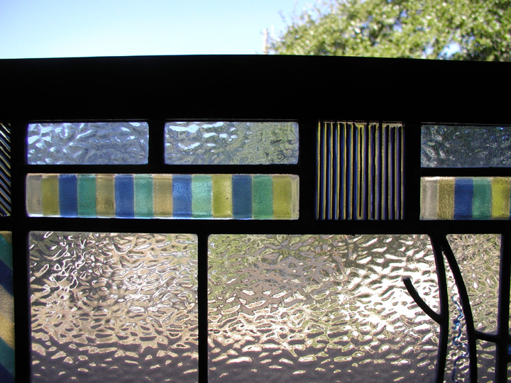 Leaded glass abstract door panel with fused glass elements