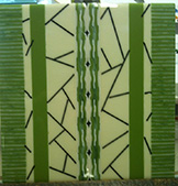 Fused Glass with Green and Amber Pattern Bar Slices