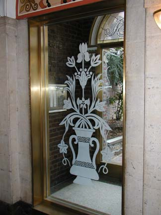 Etched Glass Entryway Panels for Residential Building