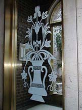 Etched Glass Entryway Panels for reidential Building