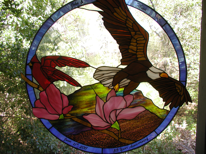 Eagle and Cardinal stained glass window