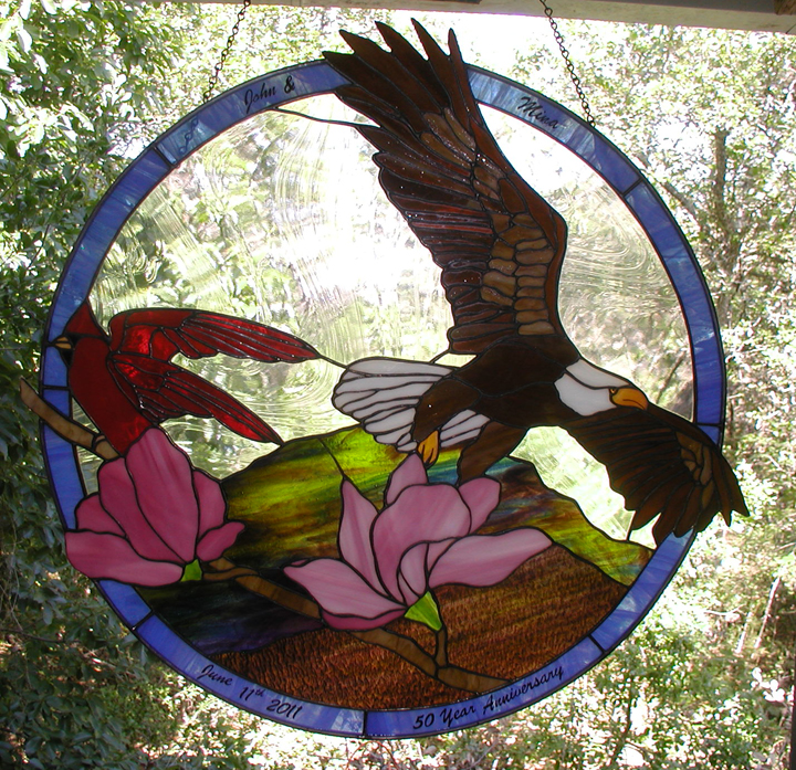 Eagle and Cardinal stained glass window hanging