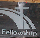 Hill Country Fellowship Etched Glass Transom