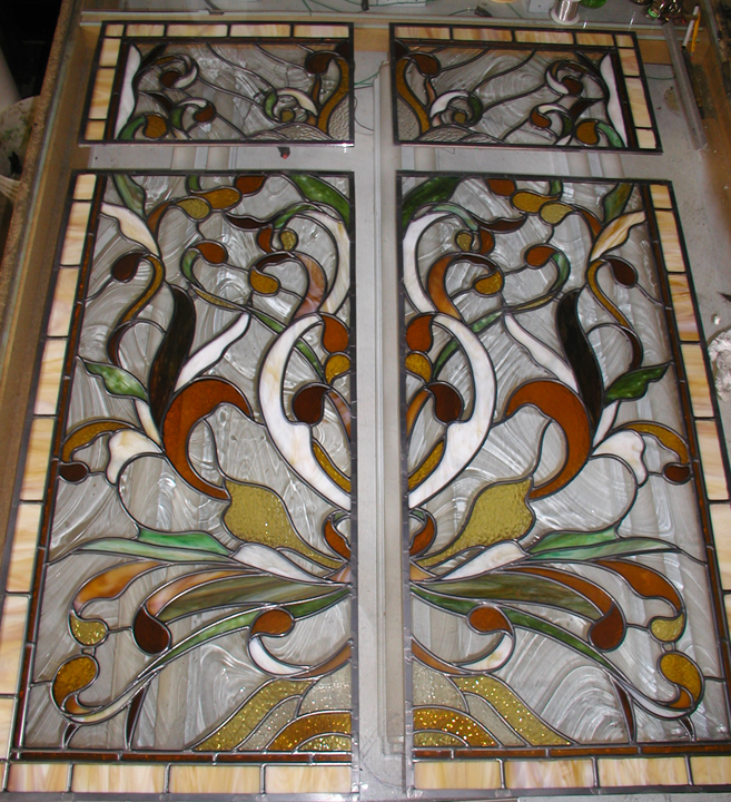 Art nouveau style leaded stained glass pocket door panels