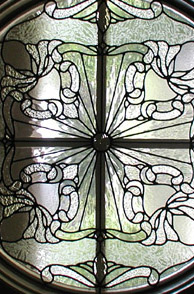 Leaded clear textured glass circle panel