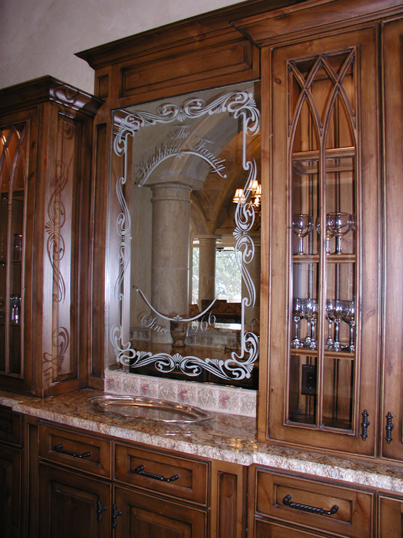 Custom Etched Glass Mirror For Built In Bar