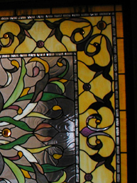 Custom stained glass meditation room window