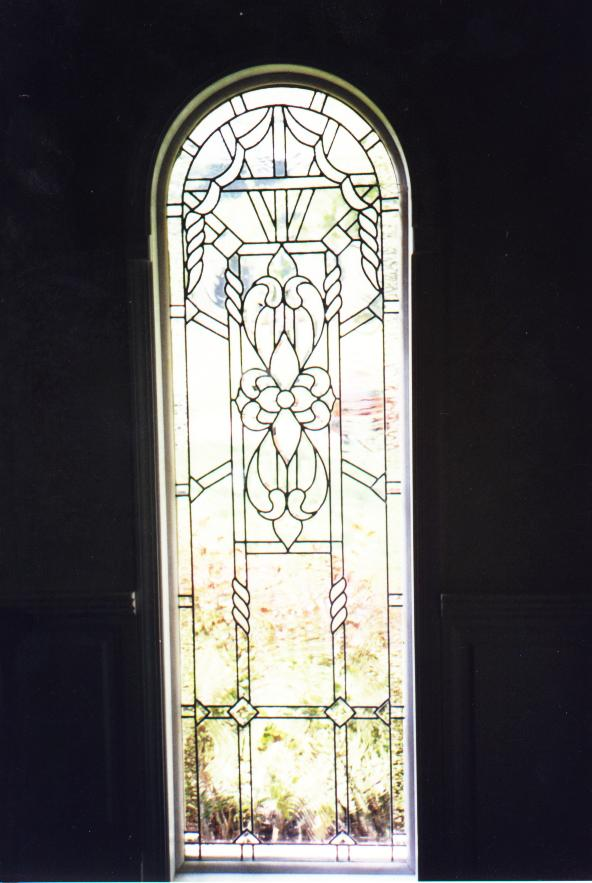 Leaded beveled and clear textured glass insulated windows