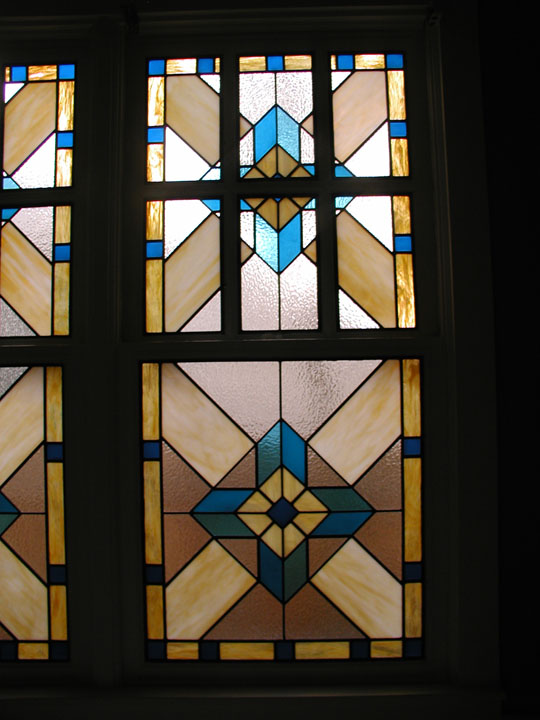 Leaded glass geometric bathroom privacy windows