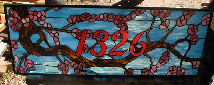 Stained glass cherry blossom address transom panel