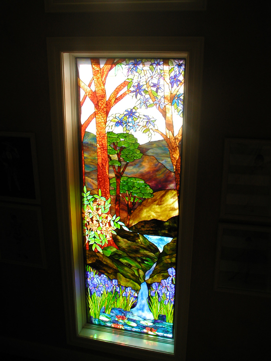 Stained Glass Landscape Stairway Landing Window
