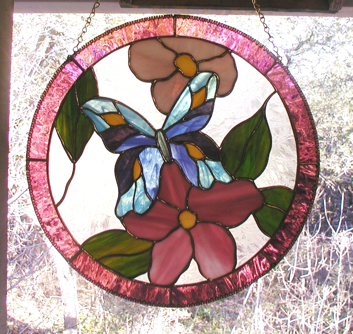 Butterfly and flower stained glass hanging panel