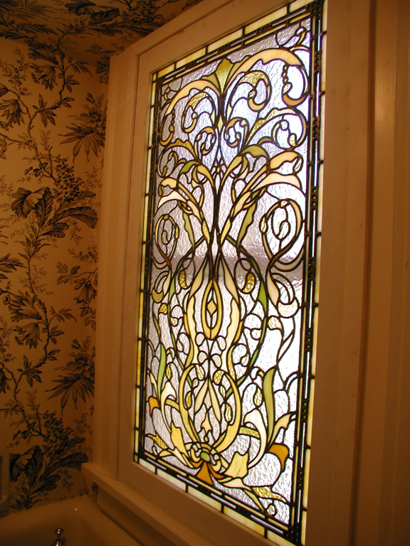stained leaded glass bathroom window for landmarked home