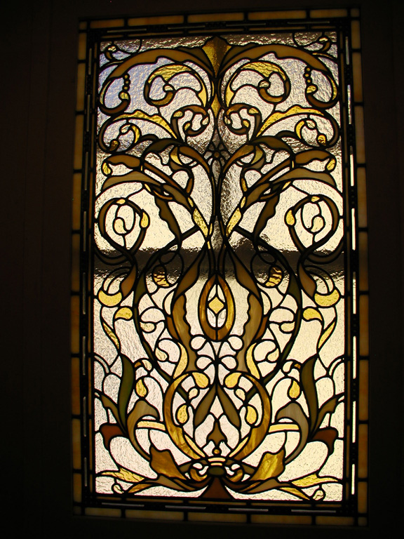 Bathroom stained glass window for landmarked home