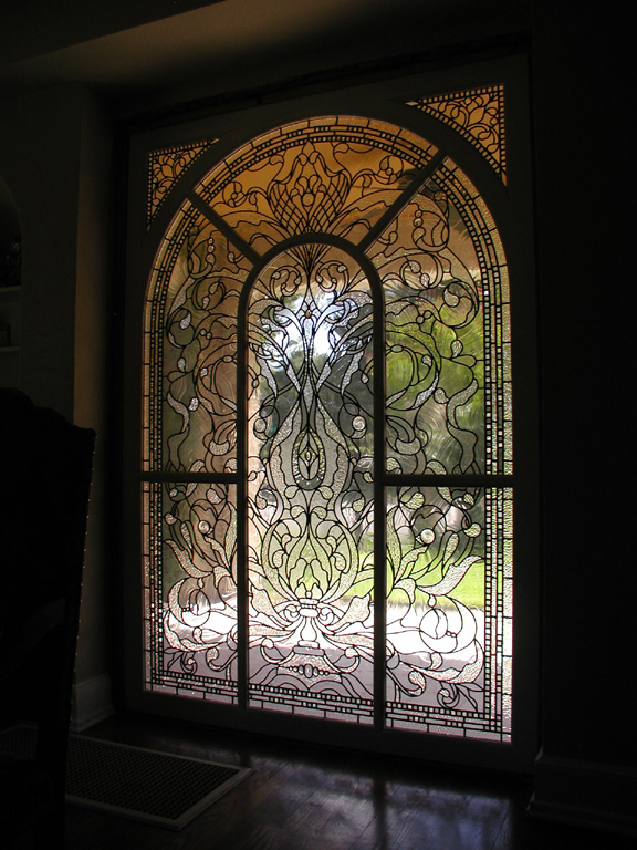 6 Foot By 8 Foot Leaded Clear Textured Glass Window