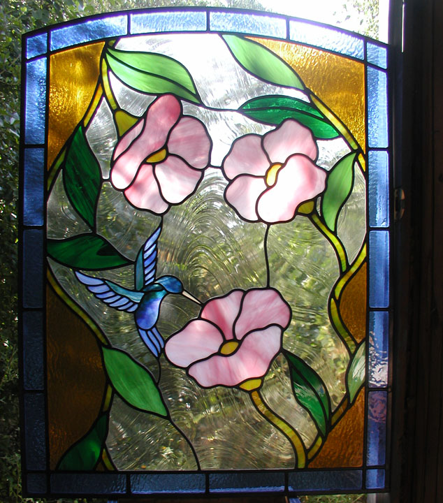 Leaded Glass Hummingbird And Flowers Door Panel