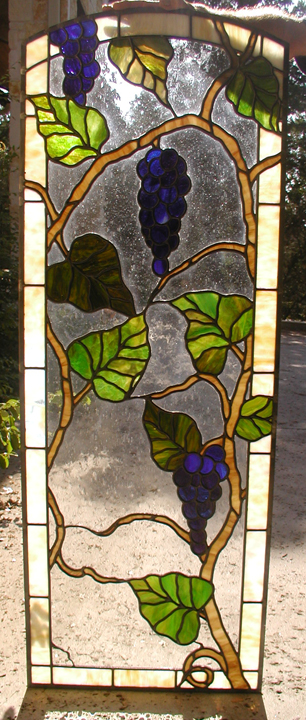 Leaded Stained Glass Grapes Door Panel